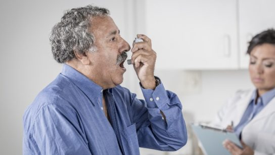 senior male with asthma