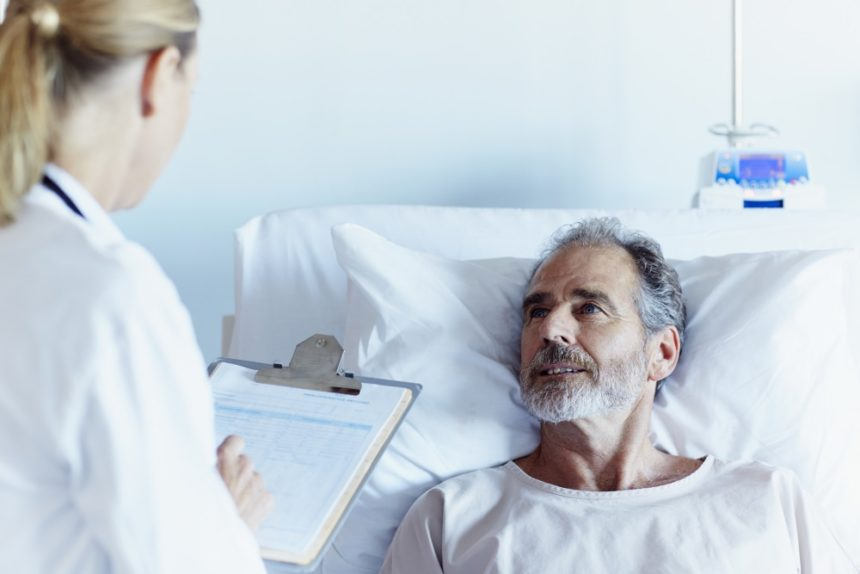 Man speaking to a doctor in the hospital