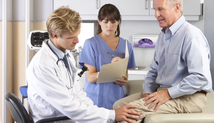 In severe osteoarthritis, dangling their legs can help with intra-articular injections.